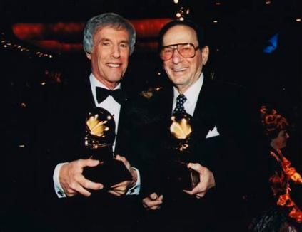 Undated handout photograph of lyricist David and Bacharach pose after receiving the Grammy Trustee Award